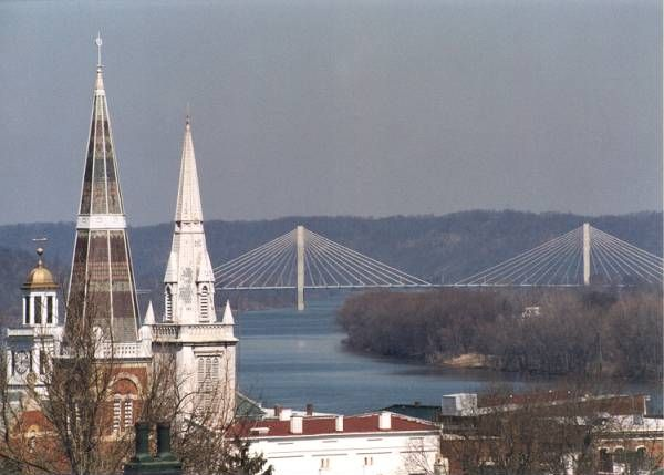 downtown steeples and William Harsha Bridge